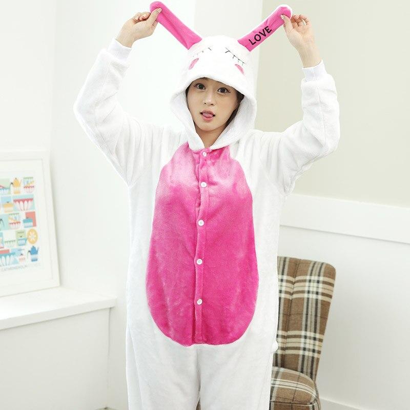 296d07c9d8c6 Flannel Rabbit Cosplay Costume Anime Pajama Warm Hoodies Loungewear Women Cute  Bunny Onesie Animal Pajama