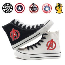 Marvel Thanos Captain America Comic Cartoon Print Casual Fashion Classic Mens and Womens High Top Canvas Shoes Student A193291