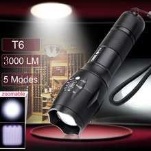 Top Quality Ultra Bright CREE XM-L-T6 LED Flashlight 5 Modes 3000 Lumens Zoomable LED Torch Light For 3XAAA or 1X18650 battery
