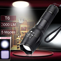 Ultra bright 5 modos t6 xm-l led 3000 lumens à prova d' água zoomable cree led lanterna tocha luz para aaa ou 18650 bateria