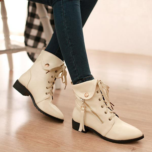 ФОТО 2014 Autumn spring female Low-heeled lace up thick heels martin boots fashion pointed toe women's vintage shoes big size 30-49