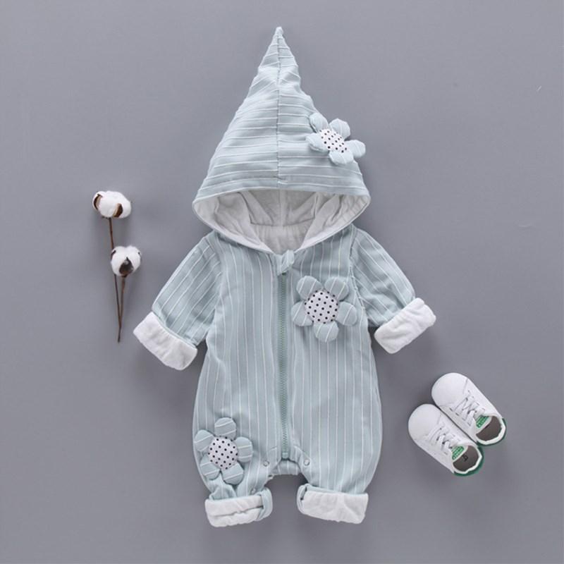 Модная одежда для детей, Детская мода для девочек Комбинезон на весну и зиму Одежда для новорожденных хлопок фланель теплая с капюшоном Дет...