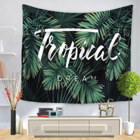 Summer Large Polyster Green Leaf Printing Wall Crapet Decorative Wall TapestriesTapiz Mandalas Para Paredes Beach Mat