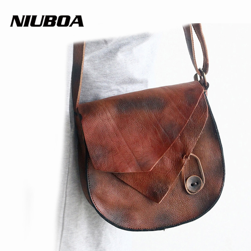 NIUBOA 100% Genuine Leather Bags Personal Design Vintage Brush Leather Women Shoulder Bags Female Pattern Leather Messenger Bags niuboa 100