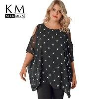 Kissmilk Plus Size 2018 Chiffon Effen Zwarte Vrouwen T-Shirt O Koude Schouder Sterren Half Mouw Tops Sheer Ruffle Lady Tees