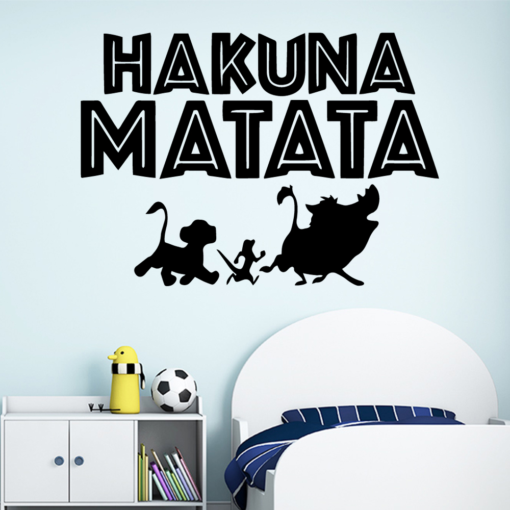 Cartoon Style Hakuna Matata Cartoon Wall Decals Pvc Mural Art Diy Poster For Kids Rooms Decoration Wall Art MURAL Drop Shipping