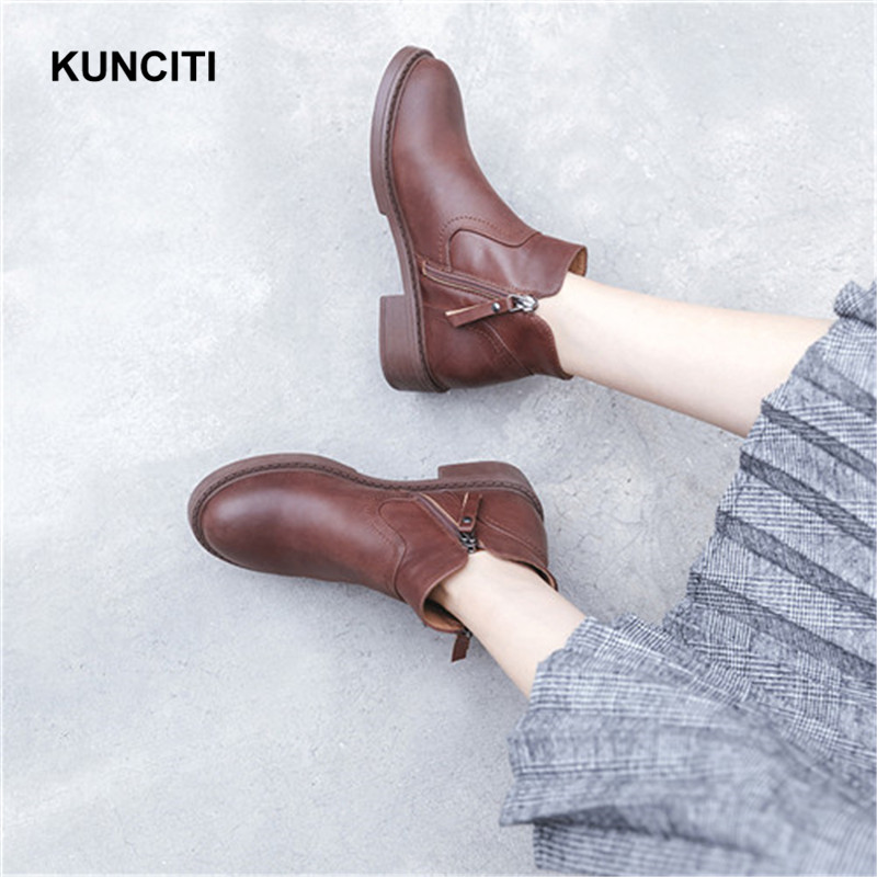 Martin Femmes Med Chaussures Talon brown 2018 Plush Bout In Kunciti Chelsea In Chaussons brown Court Hiver Rond Bottes Cuir Dames Automne En Black Véritable D560 black AxAXw0qI
