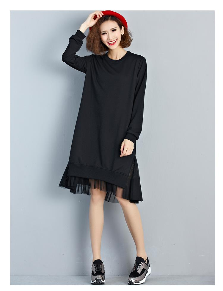 ae58c6313fa Big Size T-Shirt Women Cotton Patchwork Lace Autumn Solid Fashion Female  O-Neck Long Sleeve Casual Basic Black Tops Tees Dress