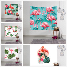 все цены на New Tropical Leaf Flamingo Pattern Wall Art Hanging Tapestry Decorative Sofa Chair Cover Fashion Beach Towel Table Cloth онлайн