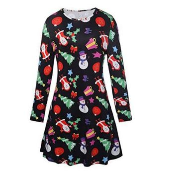 Plus Size Christmas Dress Women 2018 Autumn Winter Print Dresses Midi Snowman Long Sleeve A-Line Party Dress Female XXXL