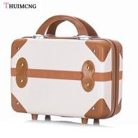 Light short travel suitcase retro large capacity personalized suitcase women pink 14 inch cosmetic case mini stitching suitcase