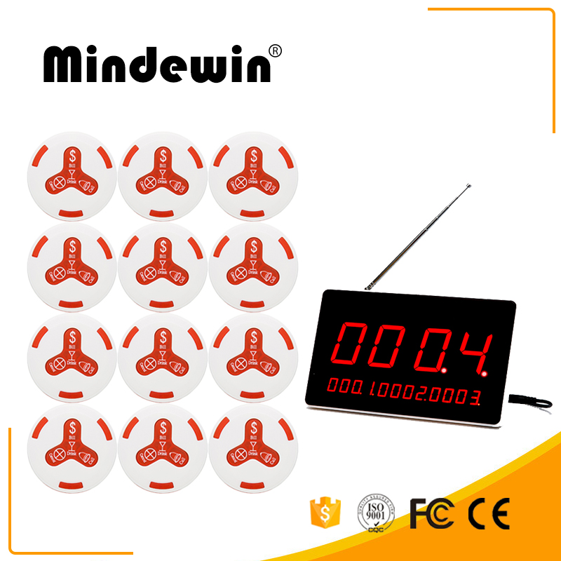 Mindewin Design Wireless Pagers Waiter Calling System 12PCS M-K-4 Call Button and 1PCS M-R-1 LED Display Waterproof Call Bell wireless coffee waiter calling system 433 mhz call pagers with 1 receiver host and 10 waterproof call button transmitter f3252l