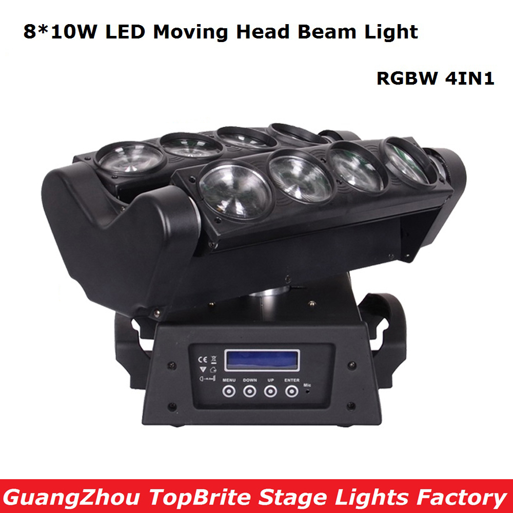 2017 Factory Price 1XLot NEW Moving Head Beam Lights 8X10W RGBW 4IN1 LED Spider Light For Stage Dj Disco Laser Lights Free Ship laser head owx8060 owy8075 onp8170