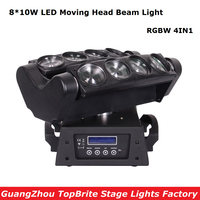 2017 Factory Price 1XLot NEW Moving Head Beam Lights 8X10W RGBW 4IN1 LED Spider Light For