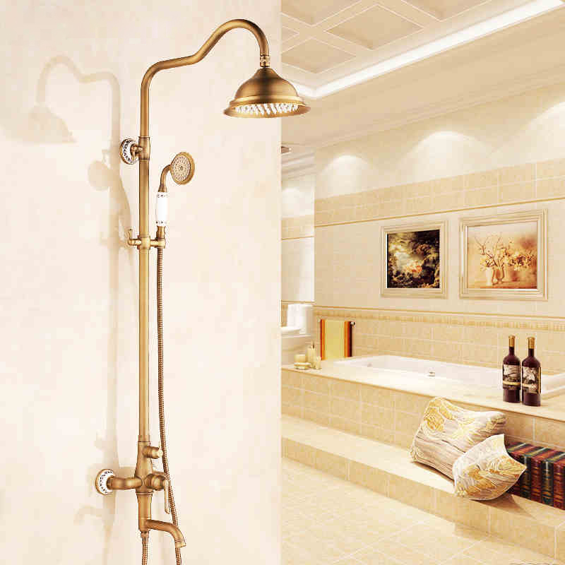 Antique 8 inch Shower Faucet Bath Shower Mixer Taps + Brass Wall Mount Shower Arm +Handshower + Brass Mixer Rain Shower Set chrome finish 8 inch shower faucet bath shower mixer taps brass wall mount shower arm abs handshower brass mixer valve