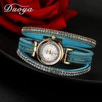 Duoya Women Brand Luxury Watch Women Gold Chain Crystal Vintage Leather Quartz Wristwatch Ladies Classic Fashion