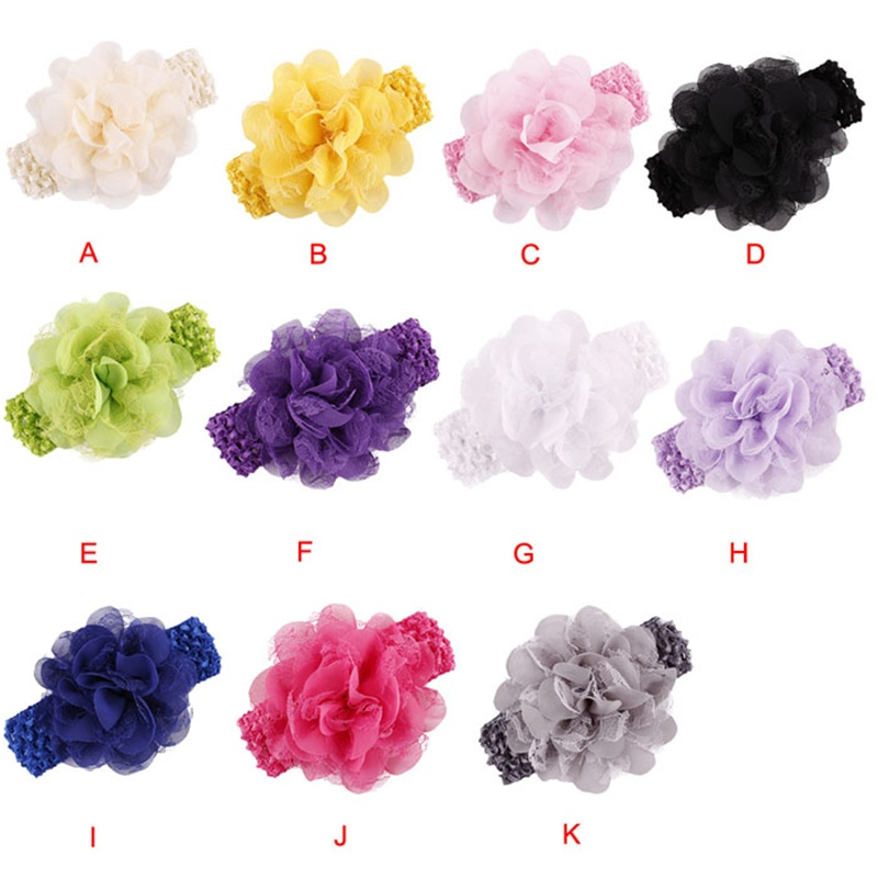 2017 new korean 11 colors Newborn Baby Girls Chiffon flowers for headbands Baby children hair Accessories sandalia infant 50pcs lot 4 1 17colors shabby lace mesh chiffon flower for kids girls hair accessories artificial fabric flowers for headbands