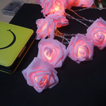 new arrival pink rose string light led, Handmade floral holiday party lights, Wedding flower decoration,Home flower arrangement(China)