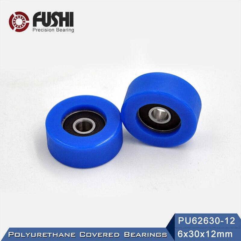 PU 626 Polyurethane Covered Bearing 6*30*12 mm ( 2 Pcs ) Shaft 6mm PU62630-12 Urethane Cover PU626 B