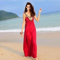 Kolsuz çivili boncuklu uzun maxi Süt Ipek Bandaj Elbise Kadın Rahat Vestidos Yüksek Sokak Kırmızı kolsuz Ayak Bileği Uzunluk Elbise