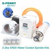 220v/380v 2.2kw ER20 water cooled spindle kit CNC spindle 4Bearings & 2.2kw Inverter VFD & 80mm Spindle Bracket & 75w water pump