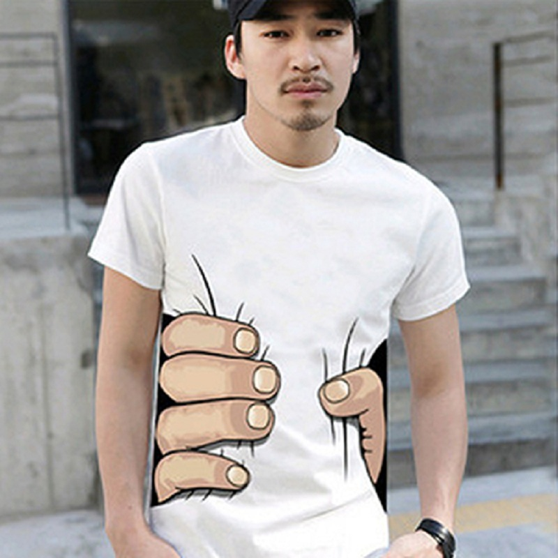 Men Funny 3D Printed White T-Shirt Big Hand Grasping Your Waist Pattern T Shirt O-Neck Short Sleeve Casual Tees Hip Hop Tops