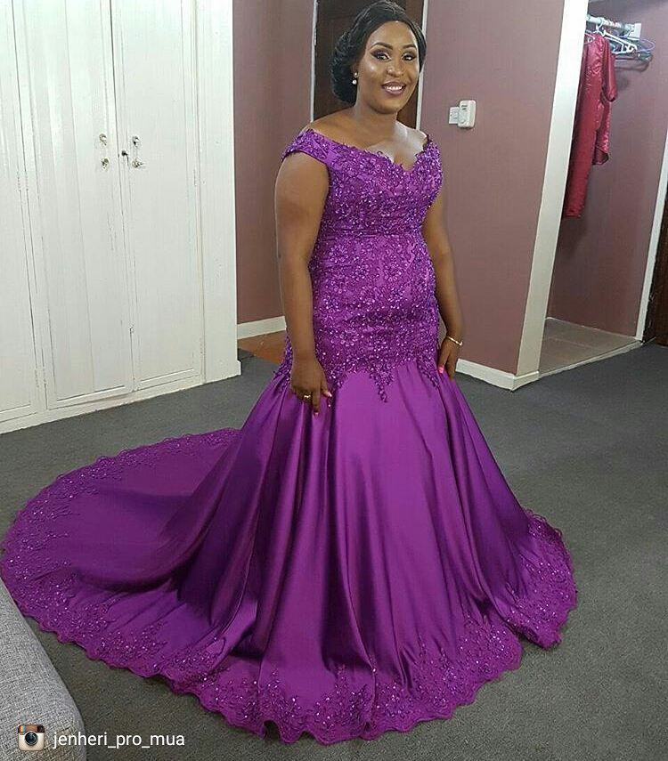Purple Mermaid Prom Dresses African Off the Shoulder Beaded Lace ...