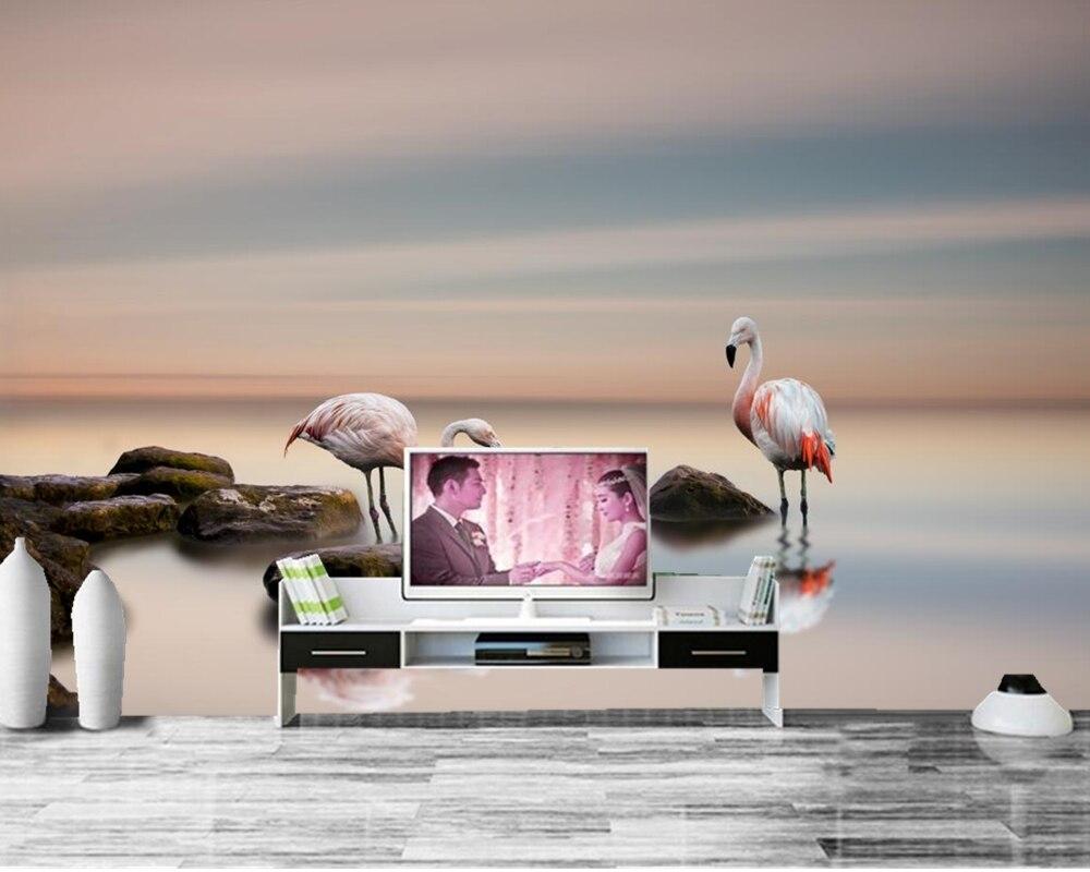 papel de parede Flamingo Stones Birds Two Animals photo wallpaper,restaurant living room TV sofa wall bedroom custom murals tulips butterflies animals flowers wallpaper restaurant living room tv sofa wall bedroom 3d wall mural wallpaper papel de parede