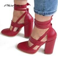 Plardin/Новые летние пикантные женские босоножки на квадратном каблуке с открытым носком, большие размеры, женская обувь с ремешком на щиколот...