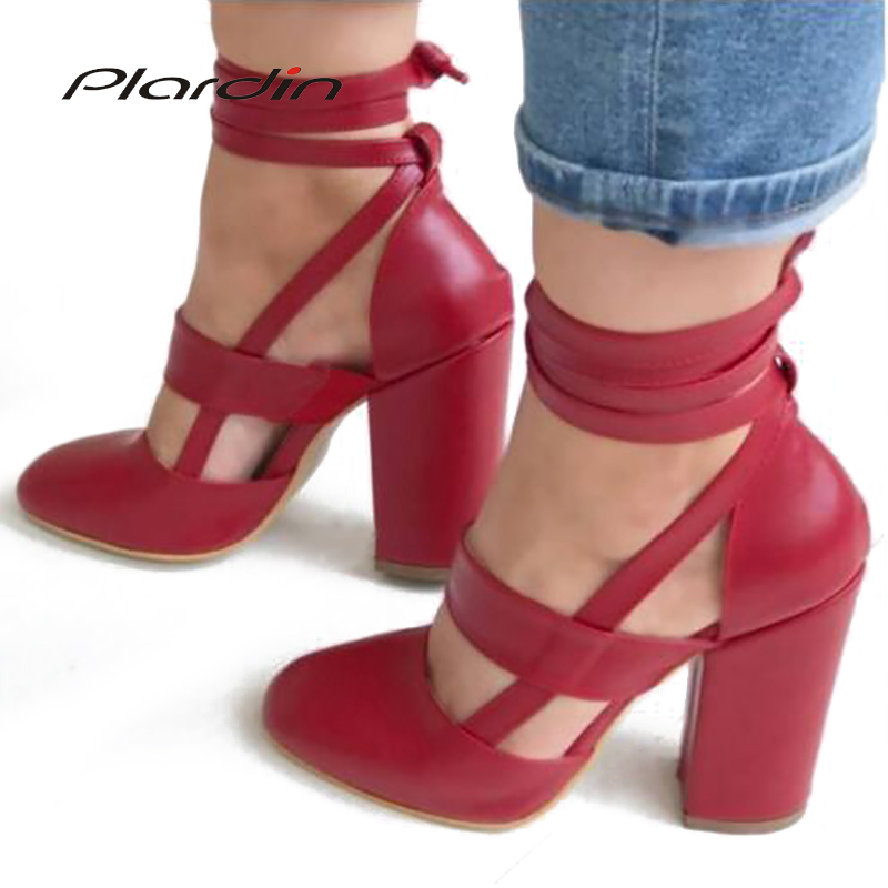 Plardin 2018 Summer Plus Size Sexy Woman Peep Toe Square Heel Sandals Shoes Ankle Strap With One Word Faux Fur Woman Shoes plardin new summer plus size woman indoor and outdoor peep toe square pearl antiskid sandals shoes with one word woman shoes