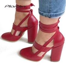 Plardin New Summer Plus Size Sexy Woman Peep Toe Square Heel Sandals Shoes Ankle
