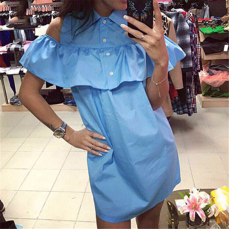 2017 verano flojo ocasional recta hombro ruffles dress para mujer turn-down coll