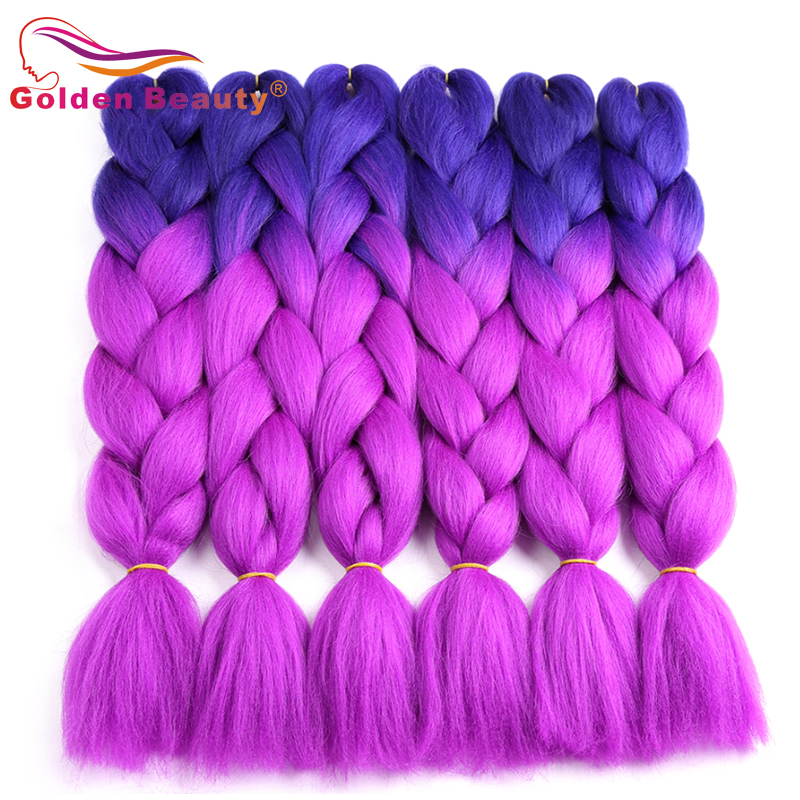 Golden Beauty 100g/Pc 24Inch Synthetic Hair Extensions Ombre Braiding Hair One Piece Afro Bulk Hair Jumbo Crotchet Braids