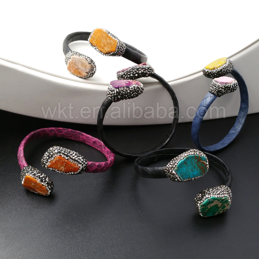 WT B276 Wholesale New Leather Stone bracelets Jewelry Natural Emperor Stone with rhinestone Color Leather Bracelets