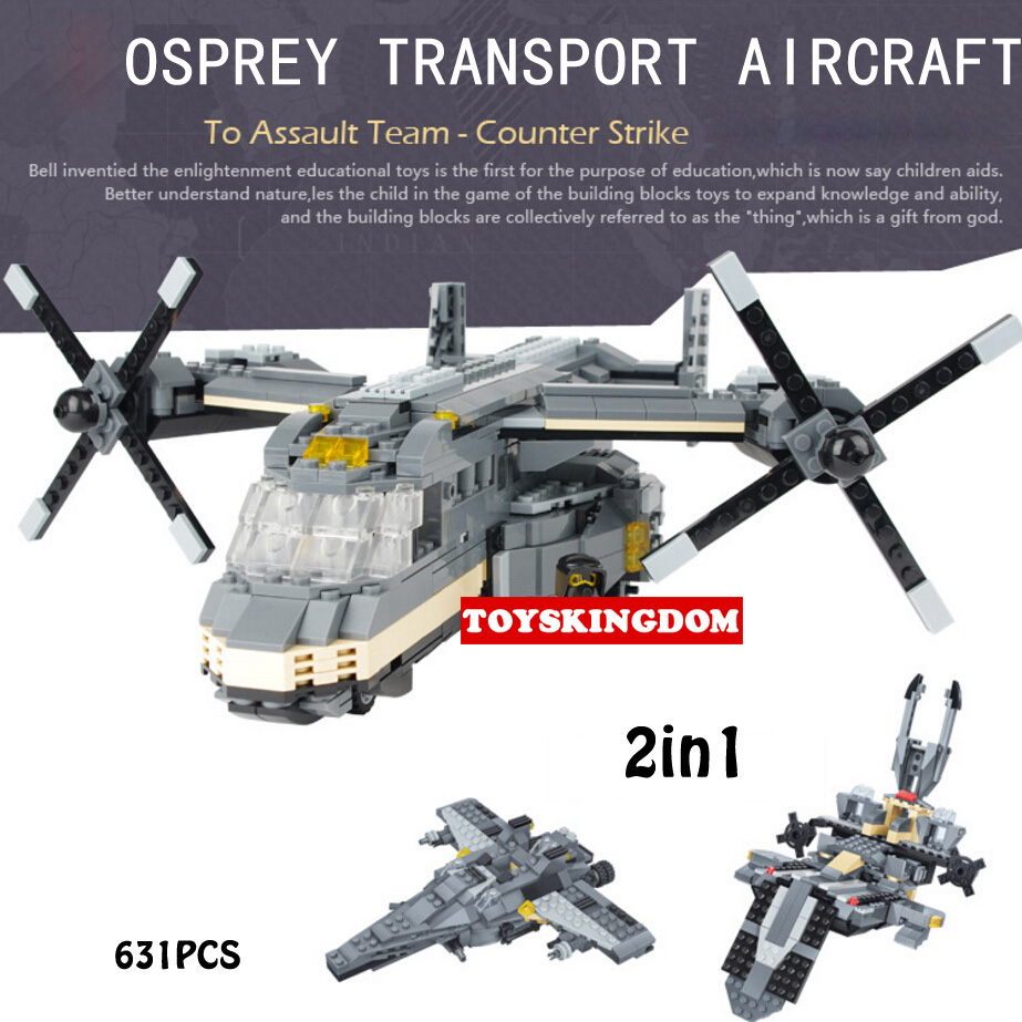 Modern Military helicopter Counter Strike special forces Osprey transport aircraft building block Army airforce figures toys modern military ww2 v 22 osprey f 15 eagle fighter j15 j 20 helicopter building block model world war air force figures toys