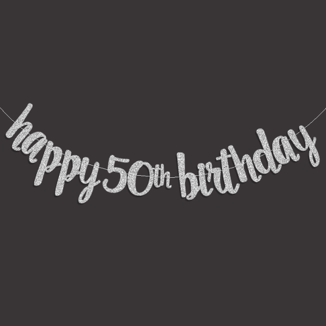 Gold Black Silver Glitter Happy 50th Birthday Banner Popular Fifty