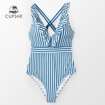 CUPSHE Blue And White Stripe Ruffled One-Piece Swimsuit Women Sweet Crisscross Monokini 2020 Girl Beach Bathing Suits 1