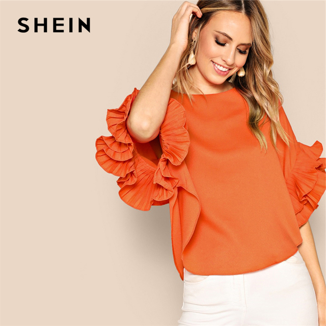 ae785f30a7c6 SHEIN Neon Orange Zip Back Layered Pleated Sleeve Top Blouse Summer Women  O-Neck Solid Elegant Office Lady Tops and Blouses