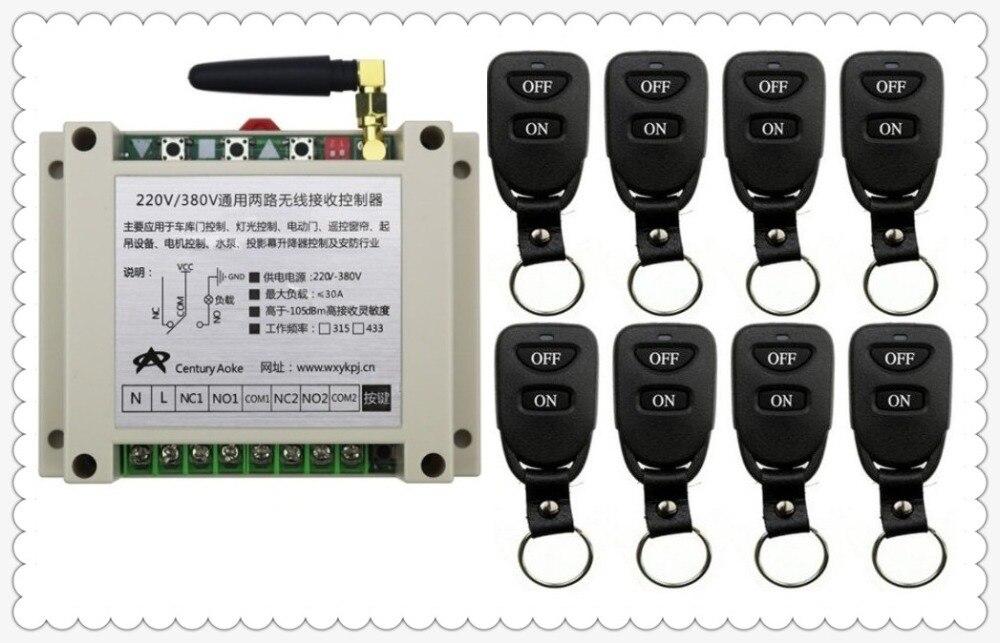 Nouveau AC220V 250 V 380 V 30A 2CH télécommande interrupteur de lumière relais sortie Radio récepteur Module et 8 pièces ceinture boucle émetteur