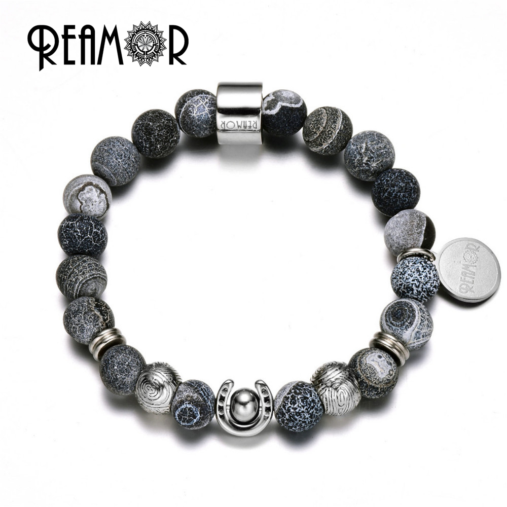 REAMOR Stainless Steel Lucky Horsesshoe Beads match Natural Wheathring Black Onyx Strand Beads Stretch Bracelets for Men Jewelry все цены