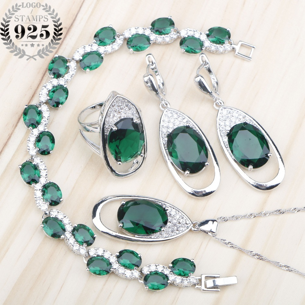 Green Zircon Wedding 925 Silver Jewelry Sets Women Necklace Charms Bracelets Rings Earrings Set With Stones Jewelery Gift Box