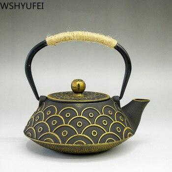 Cast iron pot boiling water iron teapot antique old iron health pot Tea set tea set home gift tea set drinking utensils 1