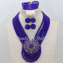 New Royal Blue African Beads Jewelry Set Nigerian Wedding Crystal Beads Necklace Bridal Lace Jewelry Sets Free Shipping ABF521
