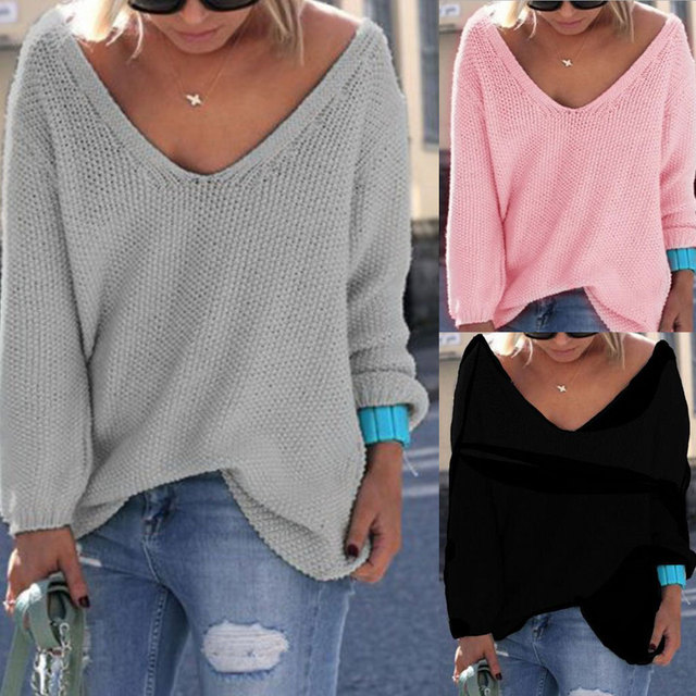 869584af8a 2018 Deep V-neck Loose Large Size Solid Color Pullover Sweater Knitted  Autumn Winter New Women Sweaters Warm Knitting Pullover