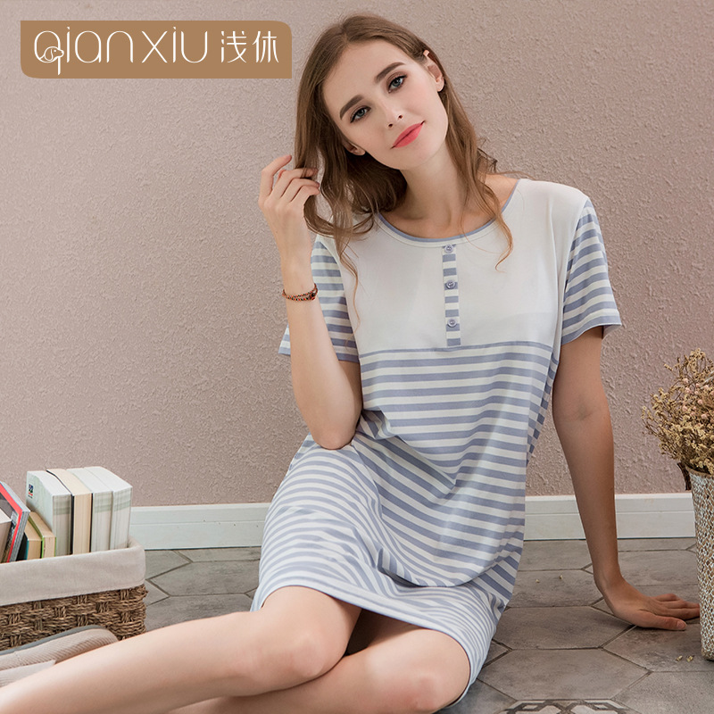 QIANXIU summer new style strip nightgowns for woman pure cotton round collar short sleeve women sleepwear set nightgown female