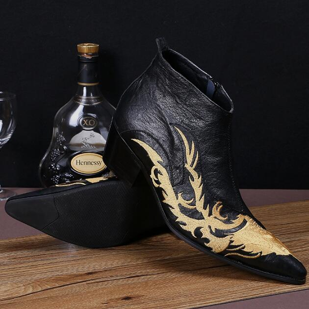 2018 Follwwith Brand Gold Totem Embroidery High Top Men Ankle Boots Height Increasing Black Leather Shoes Men Plus Size 46 totem 15 2016 green black