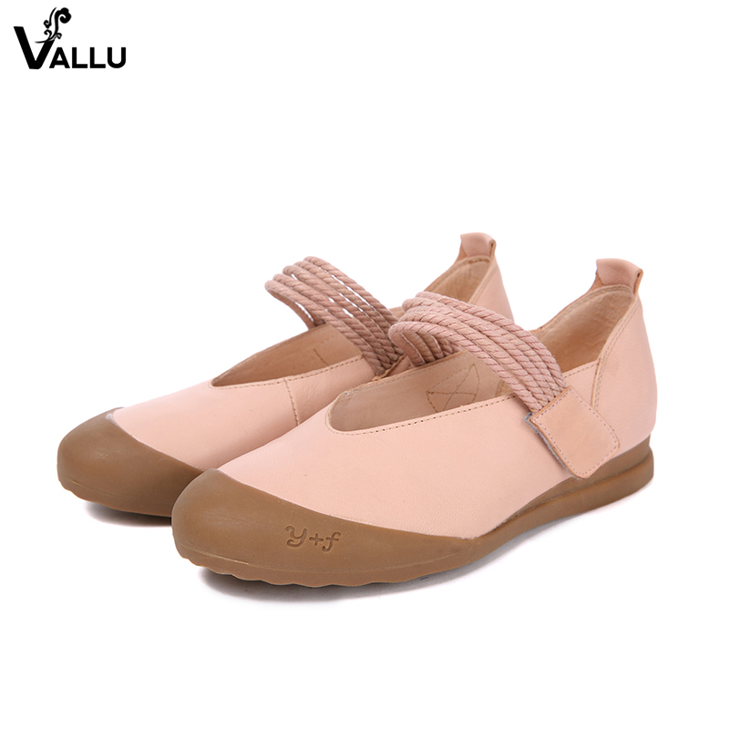2018 New Arrival VALLU Women Flat Shoes Natural Leather Female Sting Strap Casual Footwear Shoes Lady Hook & Loop Flats rizabina concise women sneakers lady white shoes female butterfly cross strap flats shoes embroidery women footwear size 36 40