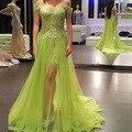 Vestidos De Graduacion Lime Green Floor Length Prom 2016 Lace Apliques de Contas Ver Através Sexy Vestido de Noite Vestido de Festa