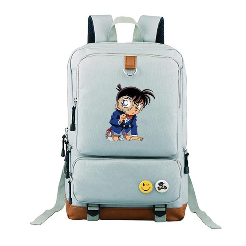 2017 New Case Closed Detective Conan Canvas Printing Anime Backpack Mochila Feminina School Bags Laptop Backpacks for Teenage Gi 5pc conan action figure detective conan doll boxes high quality toy anime action figure garage kits gift of mini conan model