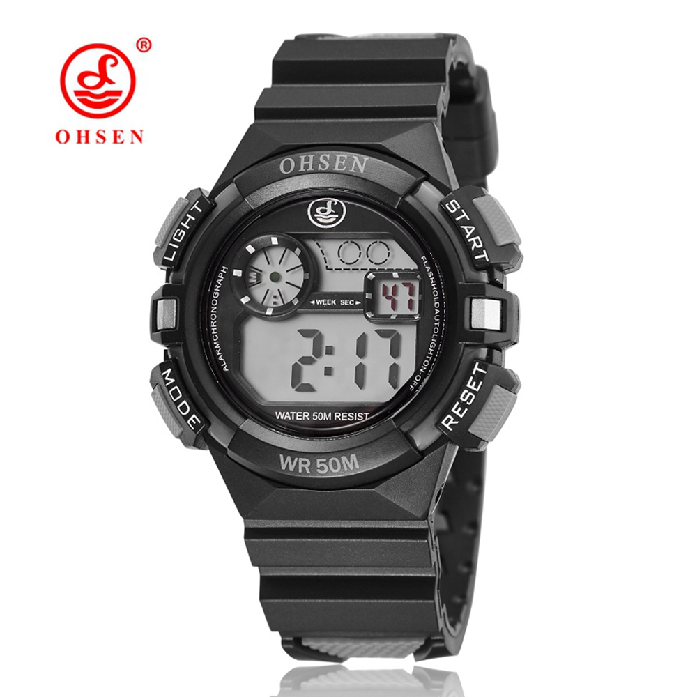 OHSEN Digital Watch LED Boys Girls Electronic Wrist Watches Rubber Band Watch Waterproof Alarm Date Fashion Kids Sports Watches